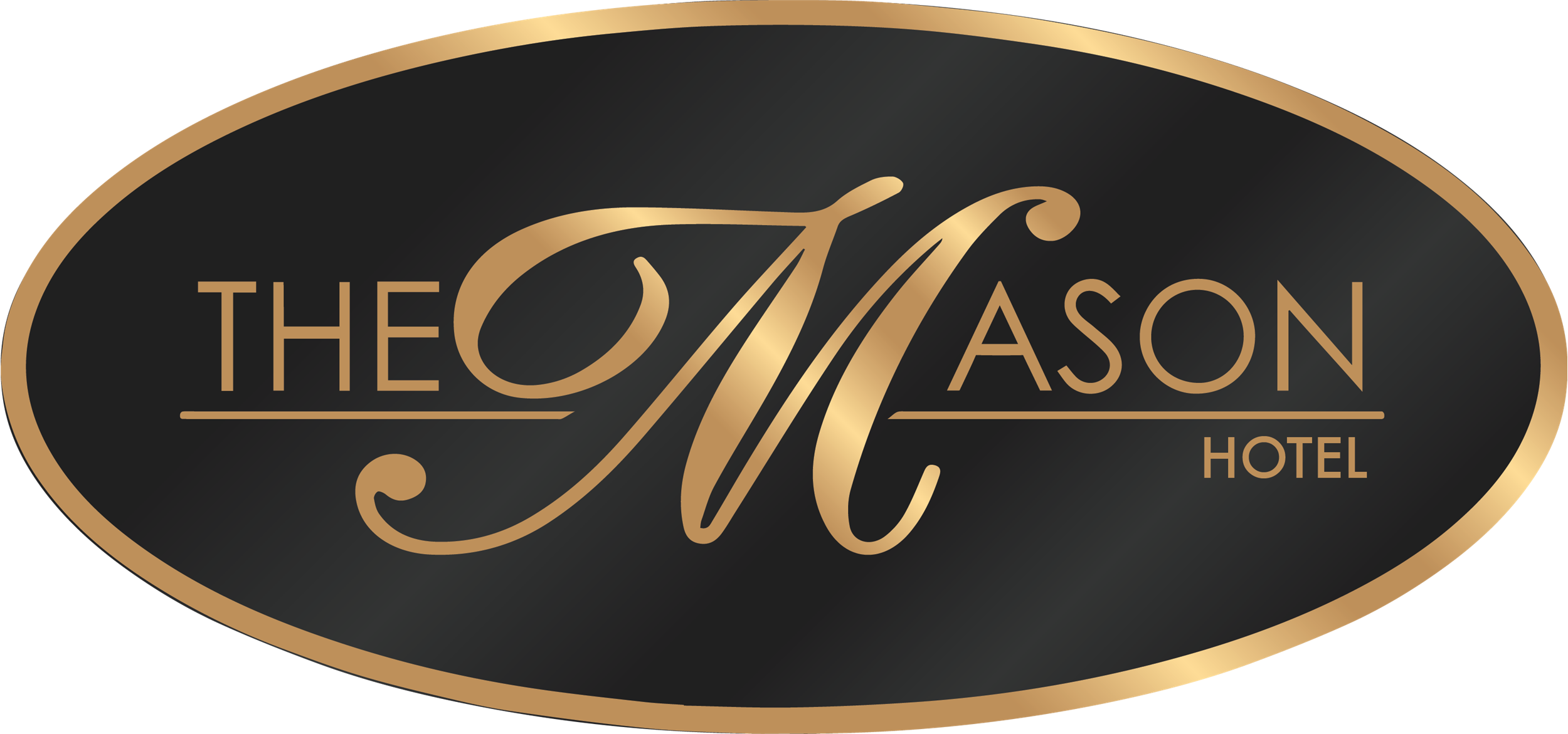 The Mason Logo -- The Mason in Gold lettering on a background of black